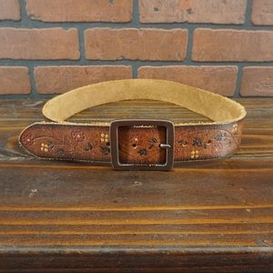 OLD NAVY Tooled Leather Belt Floral Painted Boho M